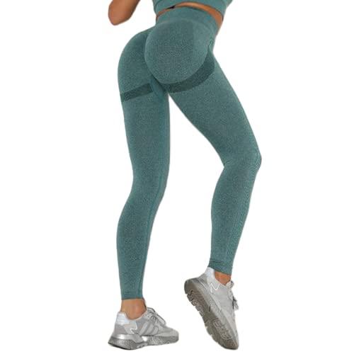 Leggings sin Costuras de Cintura Alta Push up Sexy Deportes Fitness Correr Pantalones de Yoga Pantalones elásticos de energía Leggings de Gimnasio E L