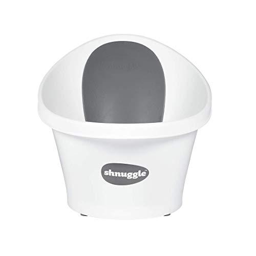 Shnuggle SBP-WGS-EUR - Bañera para bebé de hasta 12 meses con tapón en el fondo, blanca con respaldo gris con estrellas - 1,2 kg