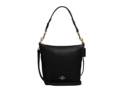 COACH Pebbled Leather Mini Abby Duffel Shoulder Bag Black One Size