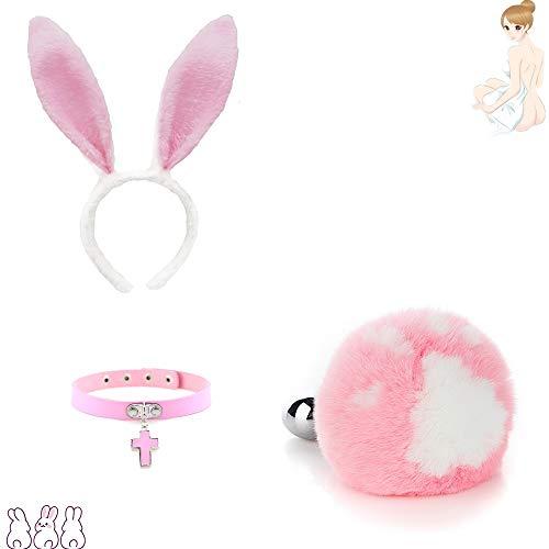 Forme de patte de chat rose Lapin Mignon lapin oreille en épingle à cheveux + Collier rose Queue Charms Jeu de rôle Costume Party Masquerade Cosplay Game Peut remplacer la tête en métal (M)