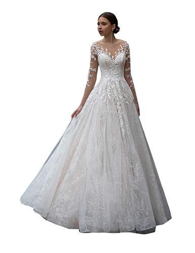 CGown Illusion Sweetheart Lange Spitze Pailletten Kirche Hochzeitskleider für Braut mit Zug Boho Brautkleid Gr. 40, weiß