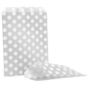 50 bolsas de papel kraft de 12,7 x 17,8 cm (29 estilos para elegir) bolsas de dulces, bolsas de regalo, bolsas de alimentos (plata/gris)