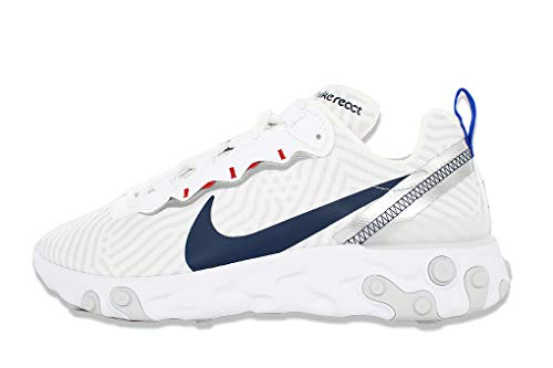 Nike React Element 55, Zapatillas para Correr Hombre, White/Midnight Navy/Bright Blue, 39 EU