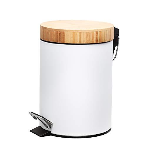 SPRINGOS Cubo de basura Papelera Acero inoxidable 3L Color blanco Negro Bambú