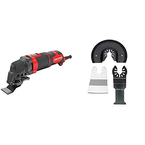 CRAFTSMAN Oscillating Tool Kit, 3-Amp, 14-Pieces with Multi-Material Blades, 3-Piece (CMEW400 & CMAO201)