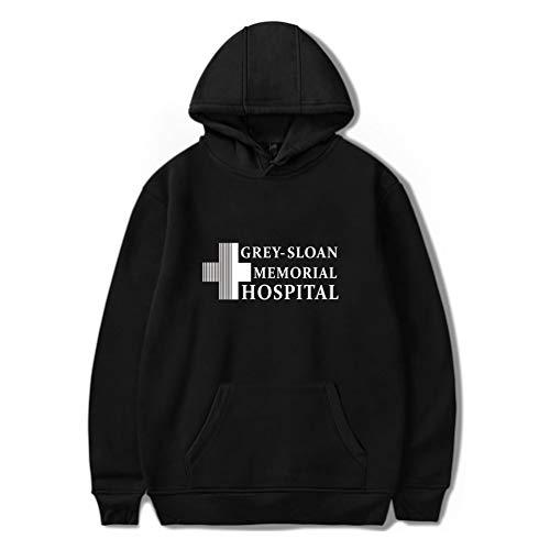 Xdsy Grey's Anatomy - Grauer Kapuzen-Hoodie mit Rundhalsausschnitt,Black-b,S