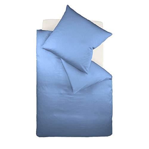 Fleuresse Dream Art Riva Feingewebe 143653 Fb. Blau,  Renforce-Bettwäsche-Set, 135 x 200 cm und Kissen 80 x 80 cm, ideale Sommer-Bettwäsche für Sie und Ihn, 1 Bettbezug + 1 Kissen