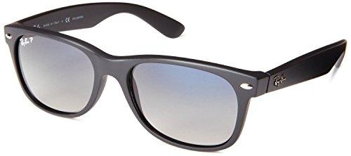 Ray-Ban RB2132 New Wayfarer - Gafas de sol unisex (marco negro de goma, lentes plateadas, 52 mm)