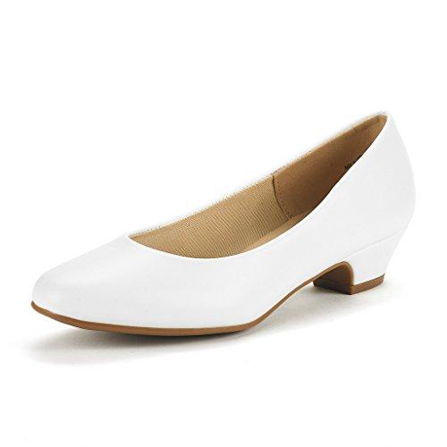 DREAM PAIRS Mila Damen Pumps mit Blockabsatz Schuhe Weiß Pu Größe 10 M US / 41 EU