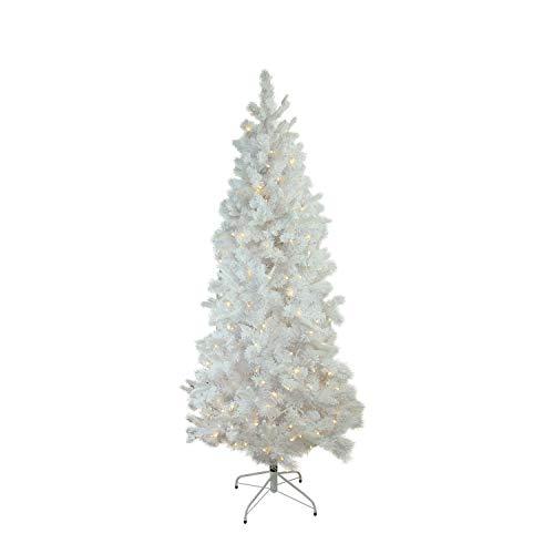 Northlight 7.5' Pre-Lit Slim Flocked Pine Artificial Christmas Tree - Warm White LED Lights