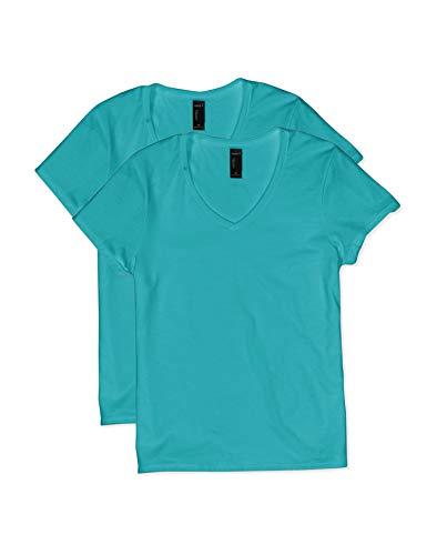 Hanes Women's Short Sleeve V-Neck t-Shirt, Teal, Large