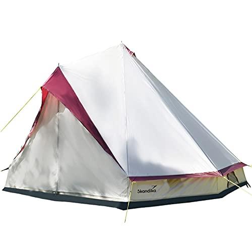 skandika Tipii II Zelt für 8 Personen   Outdoor Tipi mit abnehmbarem Zeltboden, Moskitonetz, Stahl-Gestänge, 2,5 m Stehhöhe, 3000 mm Wassersäule   Indianerzelt, Partyzelt, Festivalzelt (beige)