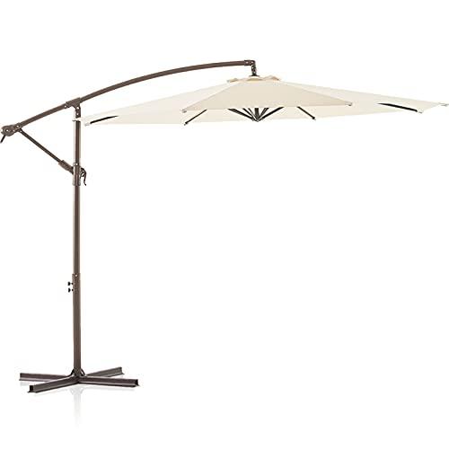 LE CONTE METZ 10 ft. Offset Hanging Patio Umbrella Cantilever Outdoor Umbrellas with Fade Resistant Solution-Dyed Canopy, Infinite Tilt, Crank & Cross Base (Beige)