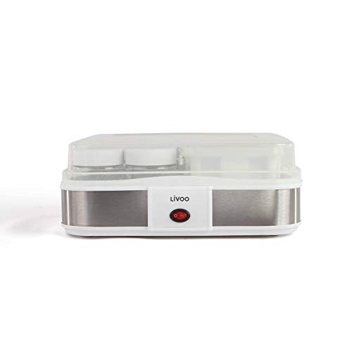 LIVOO Feel good moments - Yogurtera de Queso| Yogur casero, Queso Cottage | 210 ml X 12 tarros de yogur, 1,2L de queso fresco DOP156 Gris