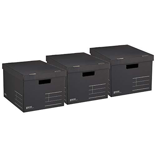 コクヨ 収納ボックス NEOS Lサイズ フタ付き ブラック 3個セット A4-NELB-DX3AM