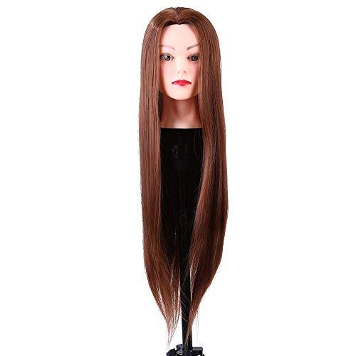 Yuyanshop Cabeza de maniquí de fibra de 24 pulgadas, entrenamiento de peluquería de cabeza de maniquí para peinar la práctica de trenzado de corte de tinte