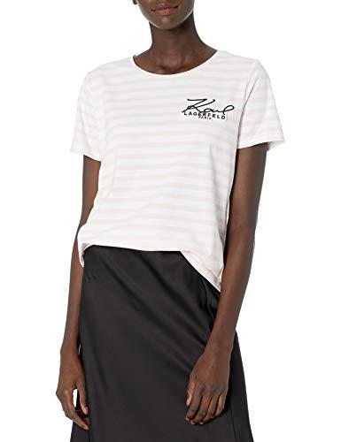 Karl Lagerfeld Paris Damen Karl Patch Tee T-Shirt, Weiß/Sherbet, Klein