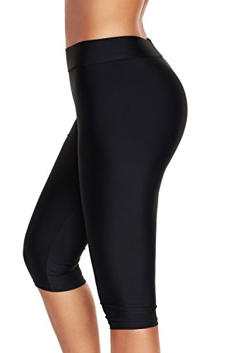 ninovino Women's Swim Leggings Quick Dry Stretch Water Sports Leggings Black M