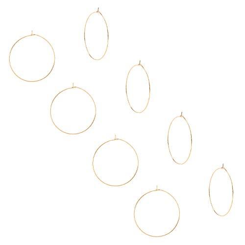 UNICRAFTALE Pendientes de aro hipoalergénicos de acero inoxidable 304 para copas de vino de 10 piezas, pendientes de aro para hacer joyas de mujer, color dorado