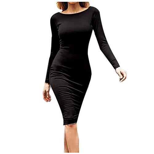 Kobay Frühlings Sommer Komfort Freizeit Für Damen Mode Solid Langarm Sexy Back Zipper Tight Vintage Long Dress