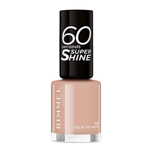 Rimmel - Vernis à Ongles 60 Seconds Super Shine Colour Block - Ultra Brillance et Longue Tenue - Séchage Rapide - 708 Kiss in the Nude - 8ml