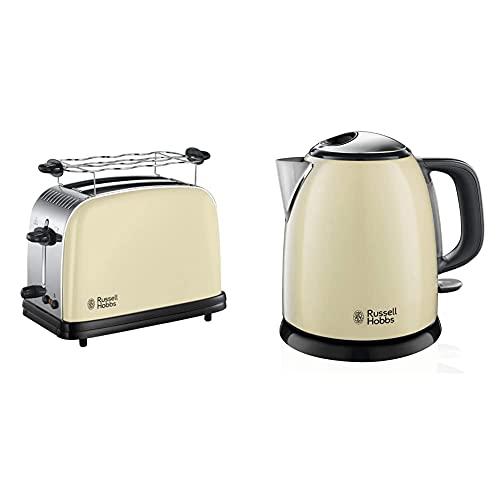 Russell Hobbs Toaster Colours+ creme, 2 extra breite Toastschlitze, inkl. Brötchenaufsatz, 23334-56 & Mini-Wasserkocher Colours+ creme, 1,0l, 2400W, Schnellkochfunktion, kompakter Teekocher 24994-70