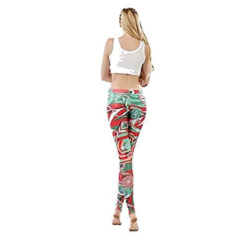 Lanceyy Leggings Mujer Impreso Estilo Navideños Lollipop Simple Flaco Leggings Pantalones Elástico Cintura Elástica Pantalones De Chándal Pantalones (Color : XL, One Size : XL)