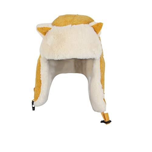 Gu3Je Schön Eltern-Kind-Hut-Wärmer Mutter Baby-Tochter, Sohn, Winter-Warmer Hut Familie HäkelarbeitBeanie Ski Cap Für Frauen (Color : Yellow, Size : 56-58cm)