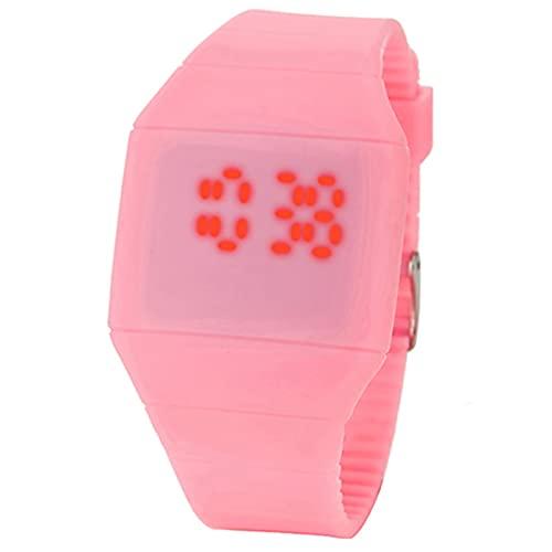 Reloj digital deportivo, a la moda, resistente al agua, con retroiluminación LED, multifunción, para hombres, señora táctil, digital, de silicona, reloj de pulsera ultrafino, para hombres, color rosa