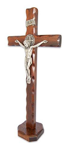 La Balestra Crucifijo San Benito de madera natural de mesa – Cristo chapado en plata 999 – Producto en Umbria Italia (38 x 16,5 cm) (38 x 16,5 x 3 cm)