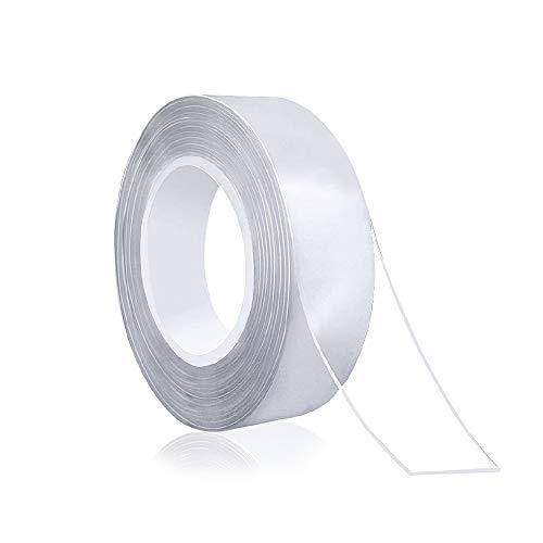 Nano Klebeband 5m Extra Stark I Spurloses Waschbares Doppelseitiges Klebeband Transparent Premium Silkon Magic Tape Selbstklebend Doppelseitig