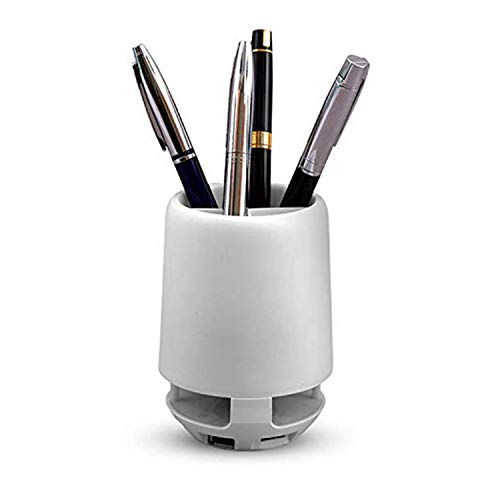 KRN BUYPLUS Pen Stand Speaker with Changing Lights Stationery Holder with Wireless Bluetooth Speaker Supports AUX USB Pendrive TF Card Micro SD Card for Office Table Desk Pencil Holder Organizer (White)