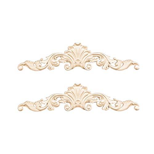 SUPVOX 2pcs legno intarsiato onlay applique mobili non verniciati porta dell'armadio decorazione della casa in stile europeo