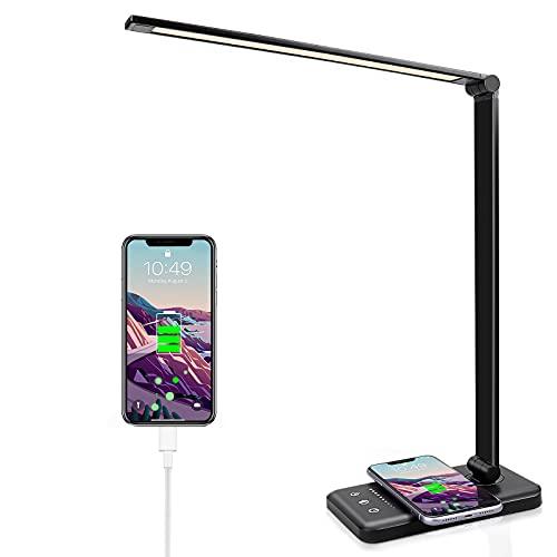 Lámpara de escritorio LED con cargador inalámbrico, 5 colores y 10 niveles de brillo, respetuosa con los ojos, conexión USB, lámpara de mesa para niños [Clase energética A++] (Negro)