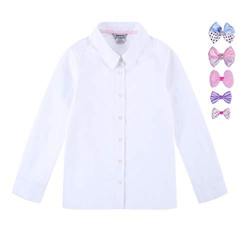 Bienzoe Mädchen Schuluniformen Oxford Langarmshirts Blusen Krawatte Satz Weiß L