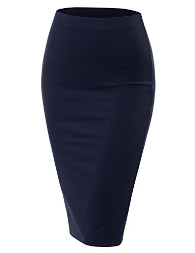 Doublju Stretch Knit Midi Pencil Skirt with Back Slit for Women with Plus Size Navy Large