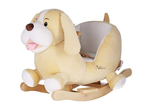 Bieco Plüsch Schaukeltier Hund \'Sam\' | Kinder Schaukelstuhl mit Sicherheitsgurt | Baby Schaukel | Schaukel Kleinkind | Schaukeltier Baby Zimmer | Baby Schaukelwippe ab 9 Monate | Schaukelpferd Holz
