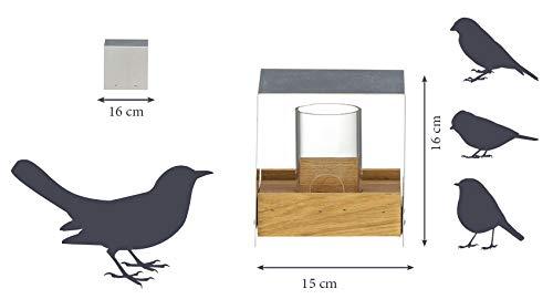 Luxus-Vogelhaus 46861e Eichenholz Vogelfutterhaus mit Ständer, Aluminiumdach, Futtertablett aus Eiche und Futtersilo - 7