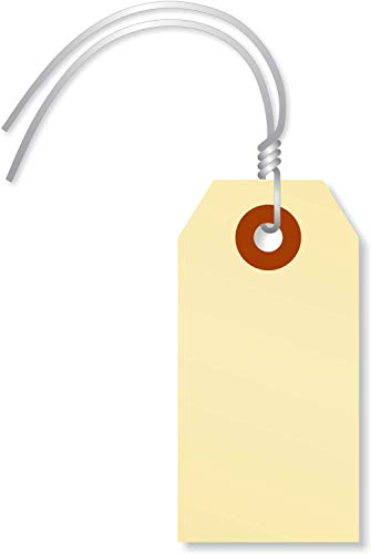 SmartSign Blank Manila Shipping Tags with Wire, Size #1 | 13pt Cardstock Tags, 2 3/4