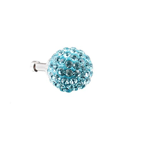 Bling cristal azul claro de 3,5 mm anti del polvo del tapón del oído para el teléfono Jack