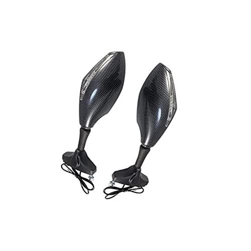 YMSHD 2 Piezas de Espejo retrovisor de Motocicleta con luz cálida para Honda Cbr1000Rr Espejo de señal de Giro LED para Motocicleta para Honda CBF 1000 2006-2010 (Color: como se Muestra)