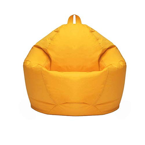 Lazy Sofa Cover for Adult And Children Lazy Lounger Chair Storage Bean Bag with Hidden Zip Design And Easy Carrying Handle,Yellow,M