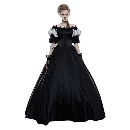 Supertong Damen Vintage Kleid Mittelalter Court Gothic Kleid Bodenlanges Retro 50s Renaissance...