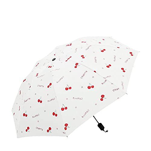 8 hueso patrón de cereza barrera lluvia plegable paraguas sol protector sol...