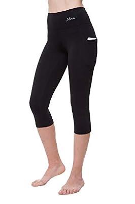 "NIRLON Capri 3/4 Yoga Pants Sides Pockets High Waist Workout Black Leggings for Women Regular & Plus Size (XL, Black+Pocket 18"" Inseam)"