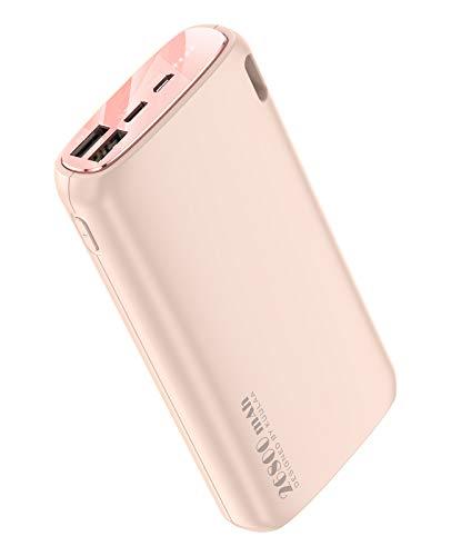 Kuulaa Powerbank 26800 mAh batería externa macrone color Dual Output Cargador portátil batería externa Pack para iPhone XR/XS/X/8/7/6/Samsung/Huawei y más (velocidad normal, rosa)