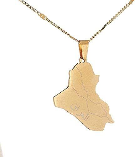 Collar de acero inoxidable con nombre de Allane Collar con colgante de tarjeta de Irak Collar de joyería con cadena de mapa de Irak