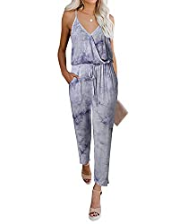 - YOINS women sleeveless playsuit long romper will make you more sexy , elegant, cool and fashion. Feature of Yoins women Jumpsuit: spaghetti strap v neck jumpsuit. casual playsuit for women. Tie dye jumpsuits romper suits. sleeveless dungarees. loos...