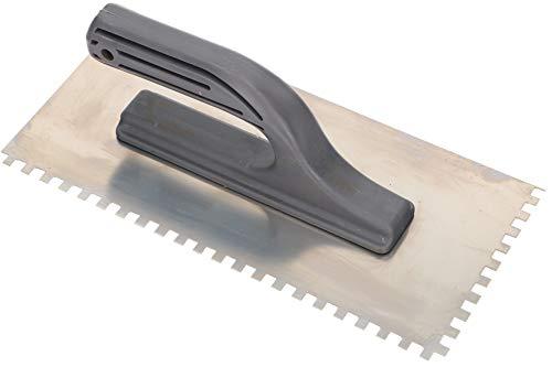 KOTARBAU® Edelstahl Glättkelle 270 x 128 mm mit Zahnung 6 x 6 mm Zahnkelle zum Verlegen von Fliesen Glättscheibe Traufel Edelstahlkelle mit Kunststoffgriff unentbehrlich beim Fliesen