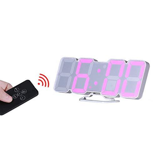 HYMY Reloj De Cabecera LEDDespertador Teledirigido del Termómetro del Control De Sonido del Dígito Colorido LEDReloj De Carrusel LED (Size:Small; Color:White)